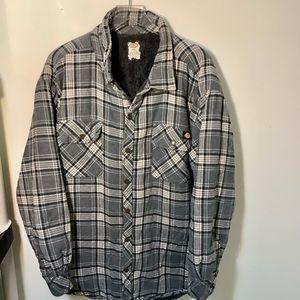 Dickies Sherpa Lined Plaid Hooded Shirt Jacket 2XL